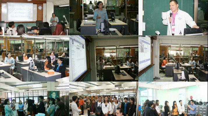 7 พ.ค. 2553 อาจารย์และเจ้าหน้าที่ จากวิทยาลัยอาชีวศึกษาปัตตานี ดูงานสำนักหอสมุดกลาง