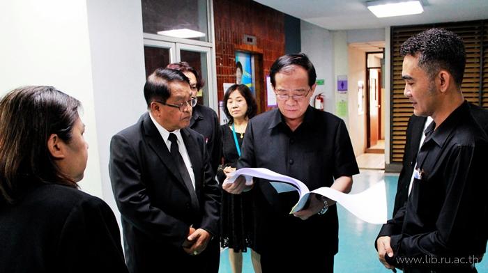 9 ต.ค. 2560 อธิการบดีมหาวิทยาลัยรามคำแหงตรวจโครงสร้างอาคารสำนักหอสมุดกลาง