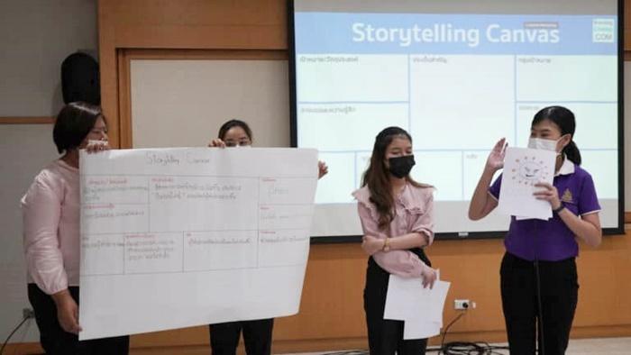 ภาพบุคลากรสำนักหอสมุดกลาง ร่วมกิจกรรม Librarian Space ในหัวข้อ ติดปีกบนโลกออนไลน์ด้วย Content Marketing จัดโดย TK Park (สถาบันอุทยานการเรียนรู้ ที่มา: https://www.brandingchamp.com/storytelling/
