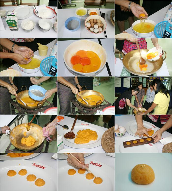 """ภาพสาธิตการส่งเสริมอาชีพ """"ปรุงอาหารตามตำรา"""" ซึ่งเช้านี้ สาธิตการทำ """"ขนมทองเอก"""" โดยสาธิตตามสูตรจาก http://www.tipfood.com"""